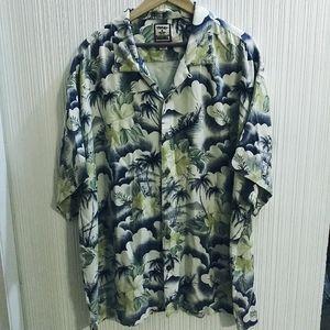 Vintage Tommy Bahama Palms/Floral 100% Silk Shirt